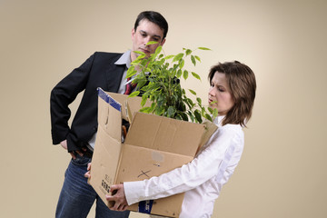 upset colleague for his fired woman