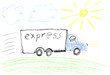 Express delivery truck - kids drawing