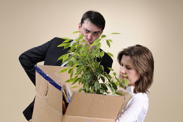 upset fired woman leaving office and her upset man