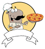 Cartoon Proud African American Chef Inserting poster