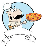 Cartoon Proud Chef Inserting A Pepperoni Pizza poster