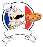 Proud Chef Inserting A Pepperoni Pizza poster