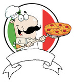 Proud Chef Inserting A Pepperoni Pizza In Front Of Flag Of Italy poster