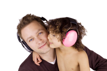 Man and girl with headphones