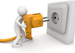 Man plugging AC power cord