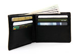 full wallet with money and gift cards