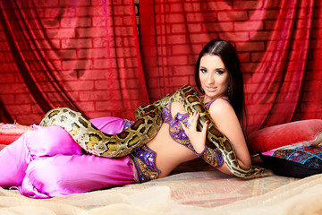 woman with a python