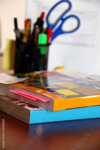 Catalogs on office desk