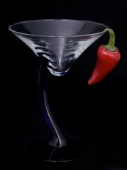 Martini with a red chili pepper