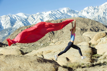 Mountain Runner With Flag