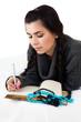 young woman write memories