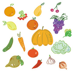 Set of hand drawn fruits and vegetables