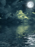 moon with nightly clouds over the water - Fine Art prints