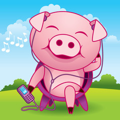 Music Pig Cartoon - More animals in my gallery.