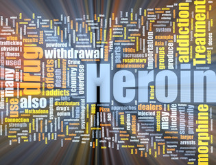 Heroin word cloud glowing