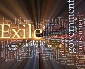 Exile word cloud glowing