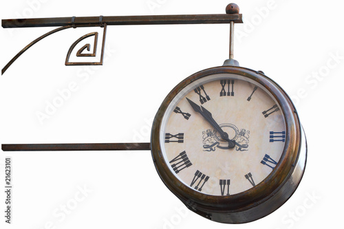 Vintage outdoor clock. Isolated with Clipping Path.