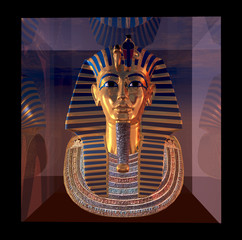 Pharaoh death mask reflections