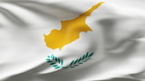 Creased Cyprus flag in wind with seams and wrinkle poster