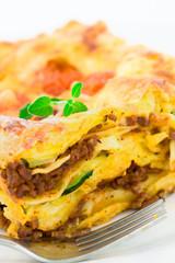 Homemade lasagna on a plate