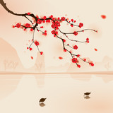 oriental style painting, plum blossom in spring - 21634158