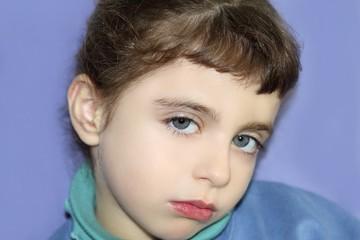 Little girl gesture portrait looking camera
