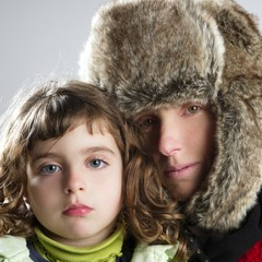mother and daughter winter portrait fur hat