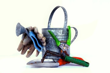Garden tools with a watering can