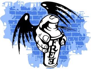 Graffiti - Wings and Spray ballon.