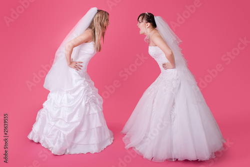 Two brides fight and shout at each other