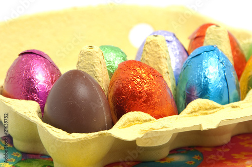 chocolate easter eggs in carton box