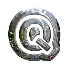 Metallic Letter Q