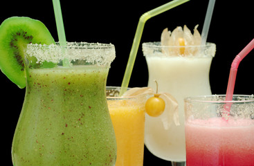 Various Smoothies out of Kiwi, Water Melon, Papaya, Guanabana