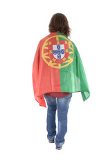 Portugal Soccer fan, isolated on white background
