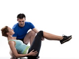 couple, on Abdominals workout posture on white background. poster