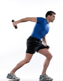 man doing workout Lunges.Triceps Extension poster