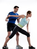 couple doing workout Lunges.Triceps Extension