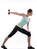 WOman doing workout Lunges.Triceps Extension poster