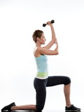 woman doing .Lunges.Triceps Stretch poster