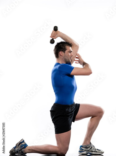 poster of man doing workout on white background..Lunges.Triceps Stretch