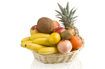 basket of tropical fruit
