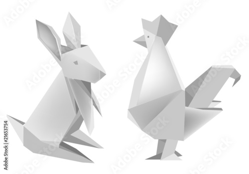 Deurstickers Geometrische dieren Paper_rabbit_and_rooster