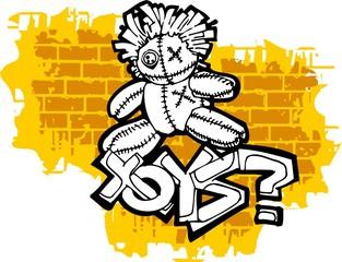 Graffiti -Toys end Question mark.