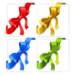 Vector bows. Red, gold, blue and green colours.