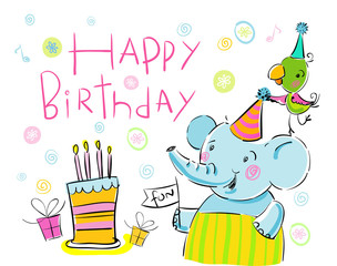 Happy Birthday, greetings from elephant and a parrot