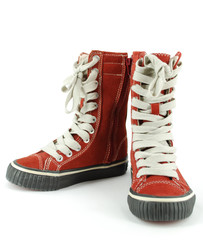 child tall red sneaker shoes