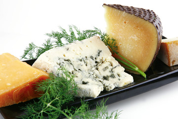 different type of aged cheeses