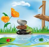 scenario con fontana in bamboo poster