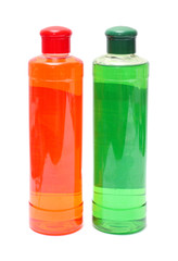 two bottles with shampoo