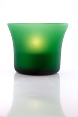 Green Tea Light on White Background